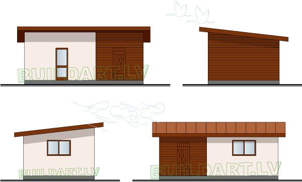 """Saimniecības ēkas projekts """"Kastanis"""" - fasādes"""