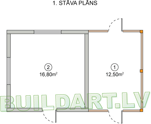 """Saimniecības ēkas projekts """"Kastanis"""" - plānojums"""