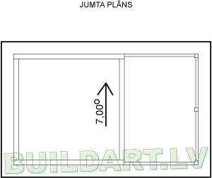 """Saimniecības ēkas projekts """"Kastanis"""" - jumta plāns"""