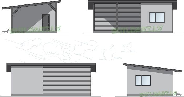 """3Saimniecības ēkas projekts """"Iecava"""", fasādes"""